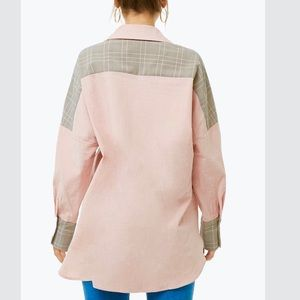 Forever 21 Tops - Oversized Button Down Pattern Blocked Shirt